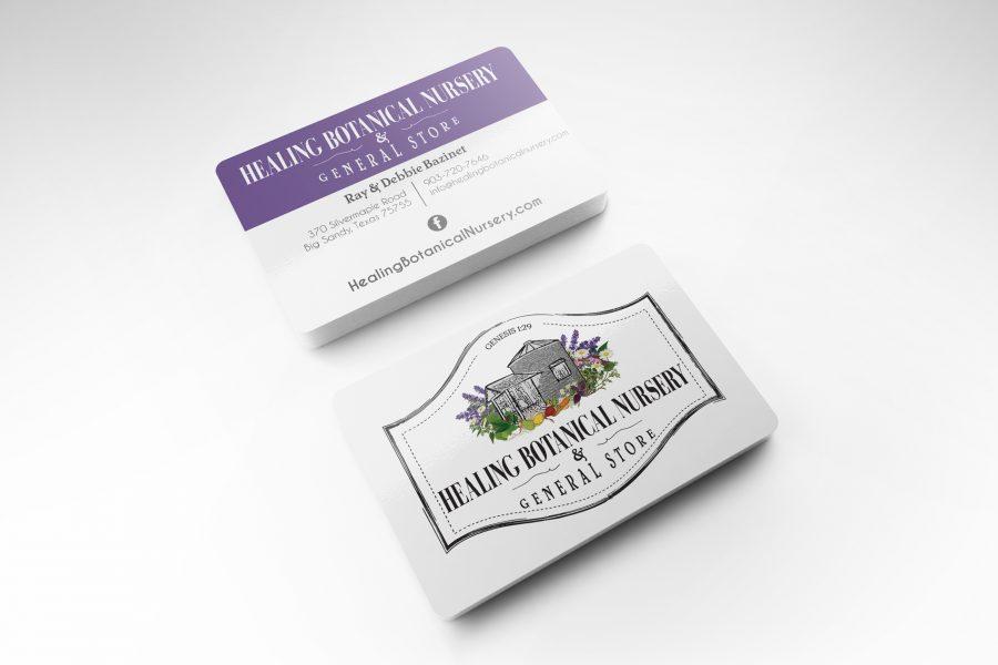 <span>Business Card, Graphic Design, Illustration, Logo, Social Media Management</span>Healing Botanical Nursery Logo & Business Card