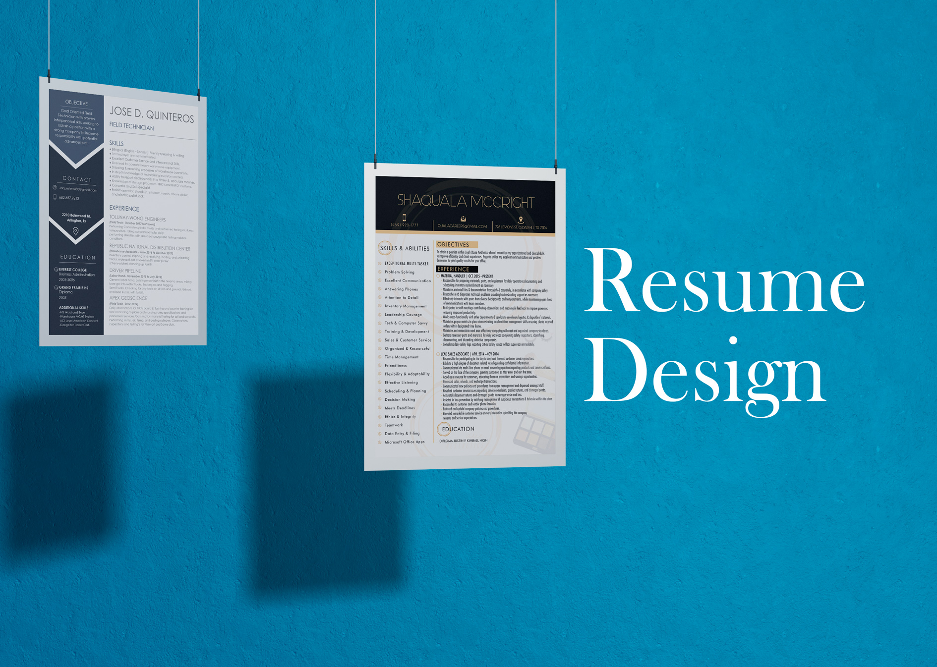 <span>Website, Wix, WordPress</span>Resume Design & Layout
